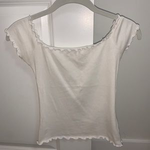 White ruffled off the shoulder t-shirt
